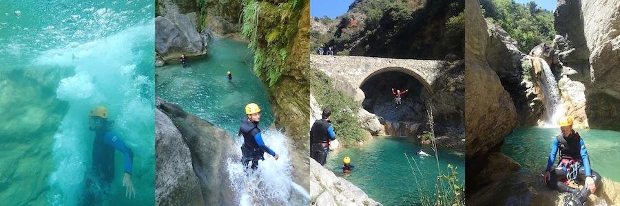 Descente du canyon de Barbaira en Italie. Canyoning en journée dans les Alpes Maritimes.