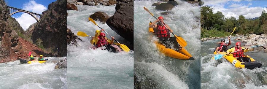 Kayak sportif dans les Gorges de la Vésubie ou les Gorges de Daluis dans les Alpes Maritimes 06 proche de Nice.